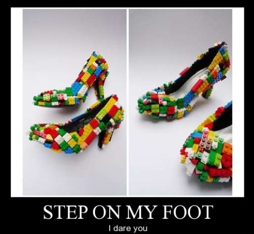 lego shoe step on my foot