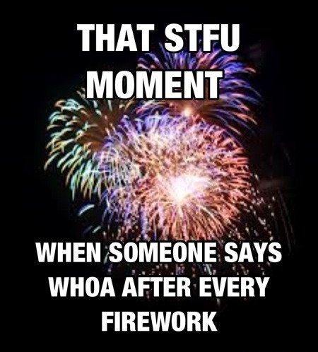 that STFU moment when someone sayd whoa after every firework