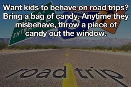 want kids to behave on road trips funny