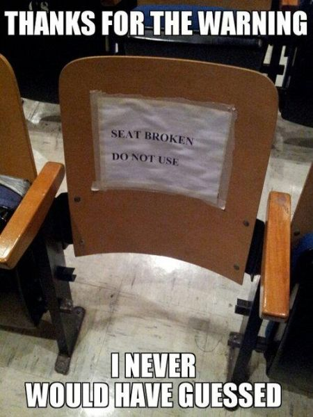 seat broken do not use funny
