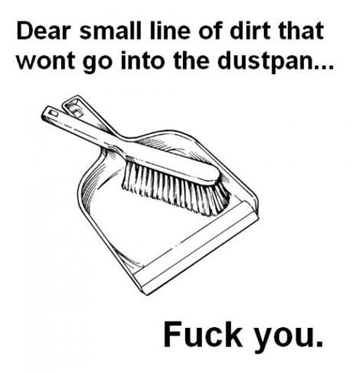 dear small lines of dust that won't go into the dustpan