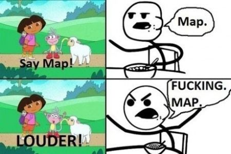 Dora say map funny
