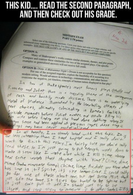 midterl exam funny paper