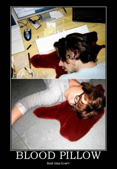 blood pillow funny picture