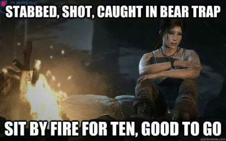gamer humor - sit by the fire for ten then good to go meme