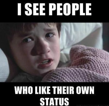 I see people who like their own status funny
