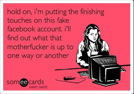 Putting the finishing touches on this fake facebook account ecard