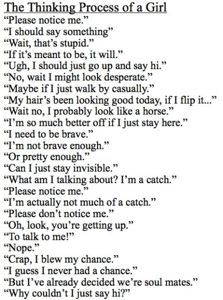 The thinking process of a girl