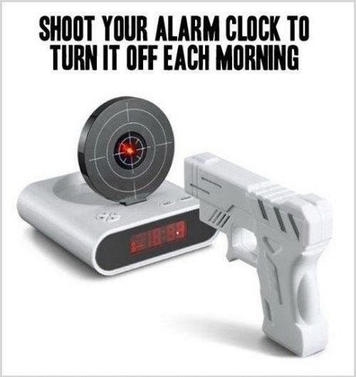 shoot your alarm clock gadget