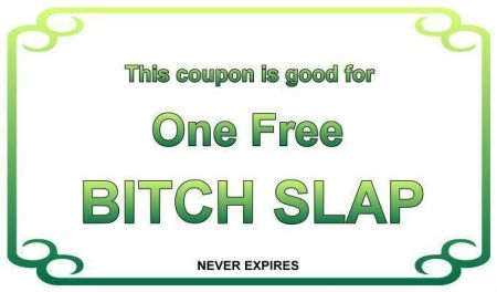 this coupon is good for one bitchslap