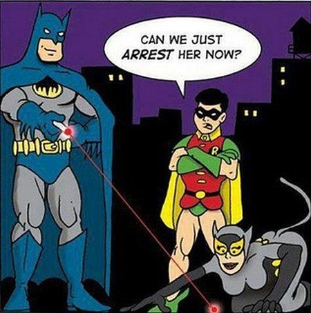 Batman playing with catwoman laser funny