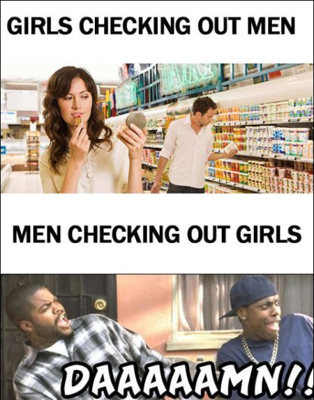 girls checking out men versus men checking out girls