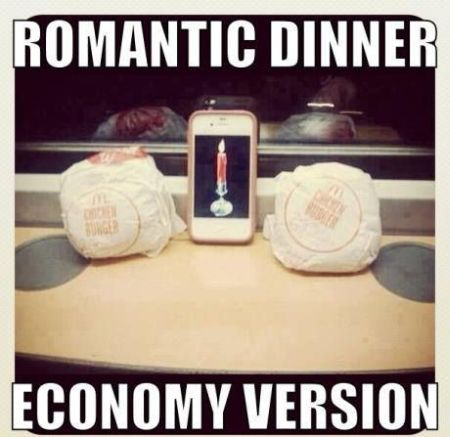 romantic dinner economy version funny