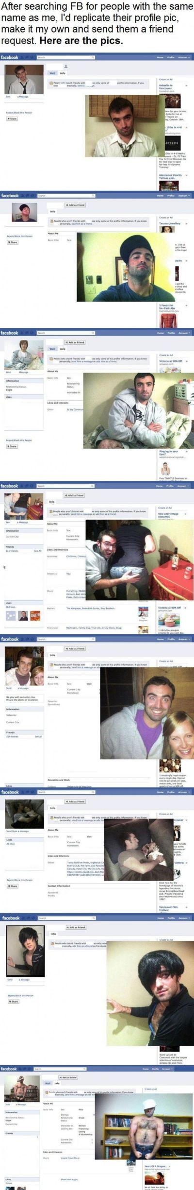 Funny Facebook profile pictures imitations