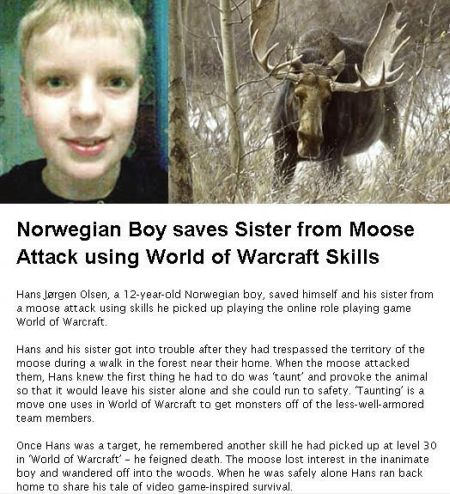 world of warcraft skills save norwegian boy and girl from moose