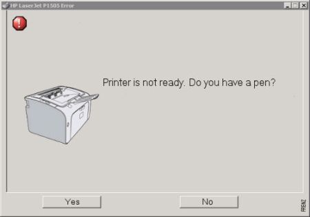 Printer is not ready – do you have a pen
