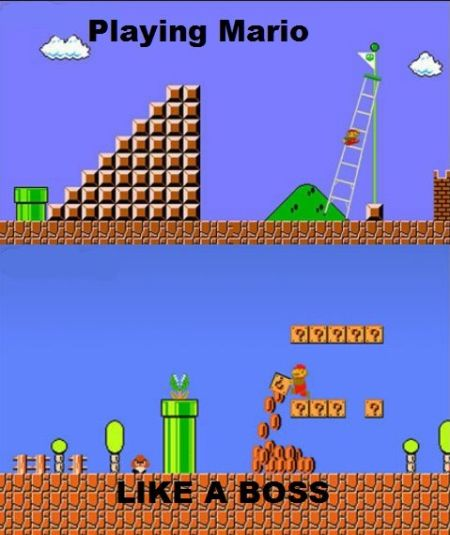 playing mario bros like a boss funny