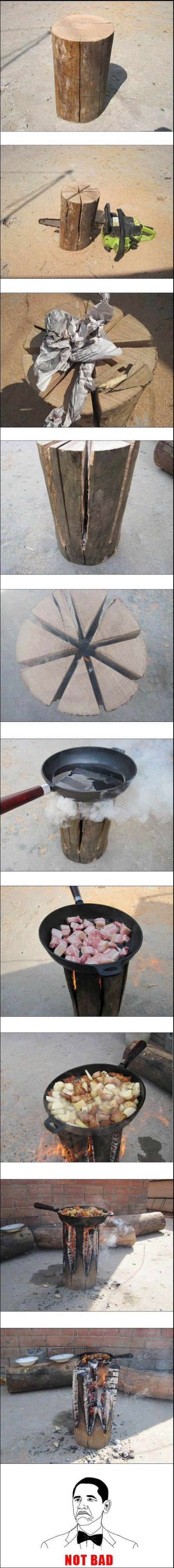 Barbecue made with a log of wood