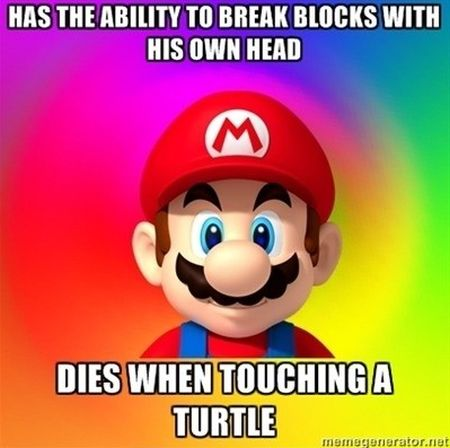 Mario Bros dies when touching a turtle funny