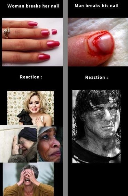 when women and men breaks their nails funny