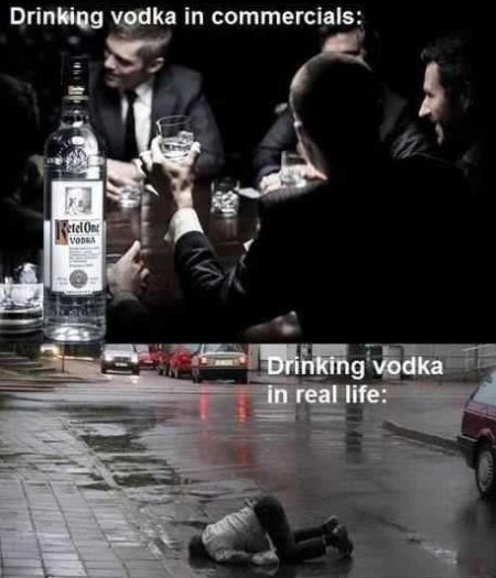 drinking vodka commercials versus real life
