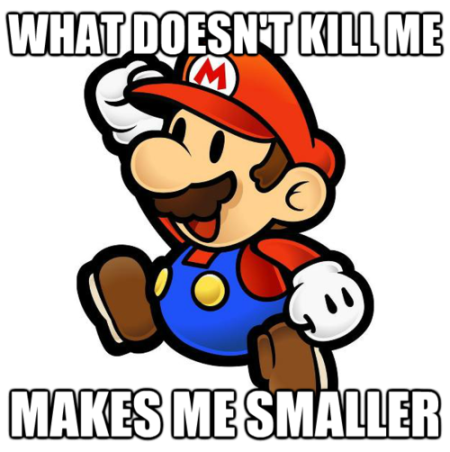 what doesn't kill me makes me smaller mario bros funny