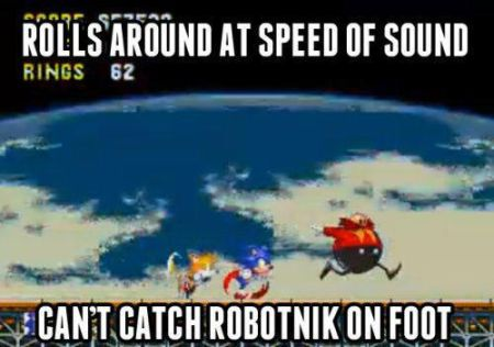 Sonic can't catch robotnik on foot funny