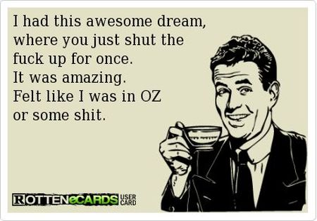I had this awesome dream where you STFU ecard