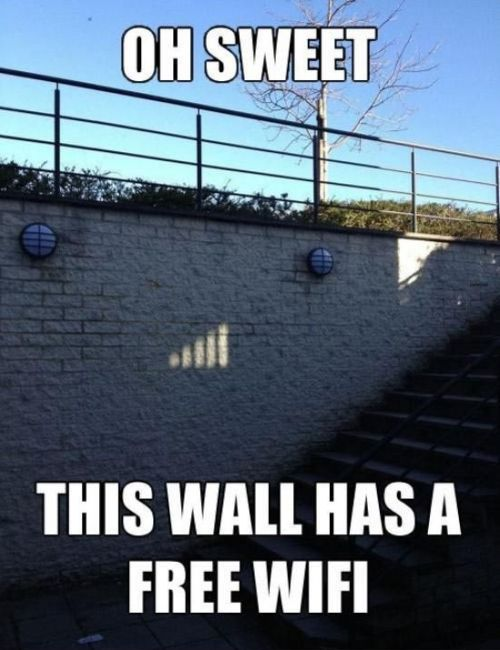 oh sweet this wall has free wifi