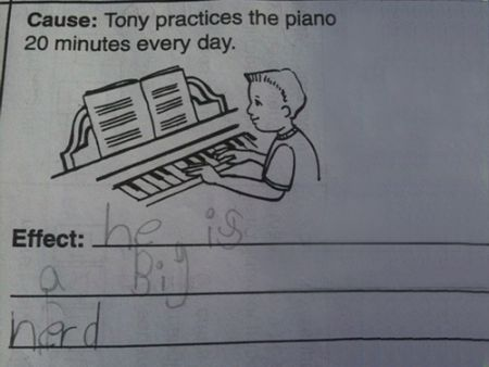 Tony plays the piano funny kid's school paper answer