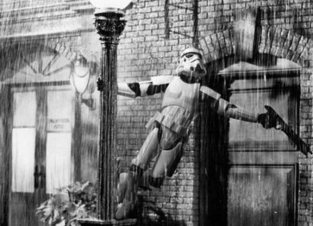 stormtrooper singing in the rain