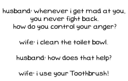 woman mad at husband cleans toilet funny