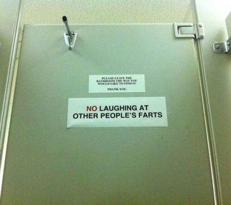 don't laugh at farts sign