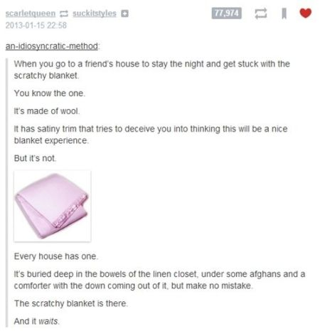 the scratchy blanket funny