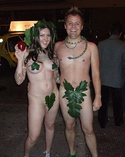 Funny Halloween costume adam and eve