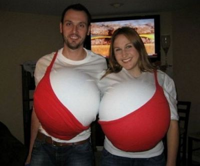 Funny Halloween costume couple bra