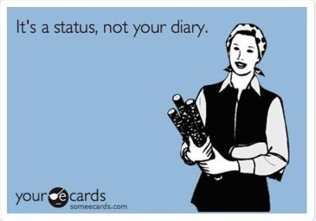 it's a status not your diary ecard
