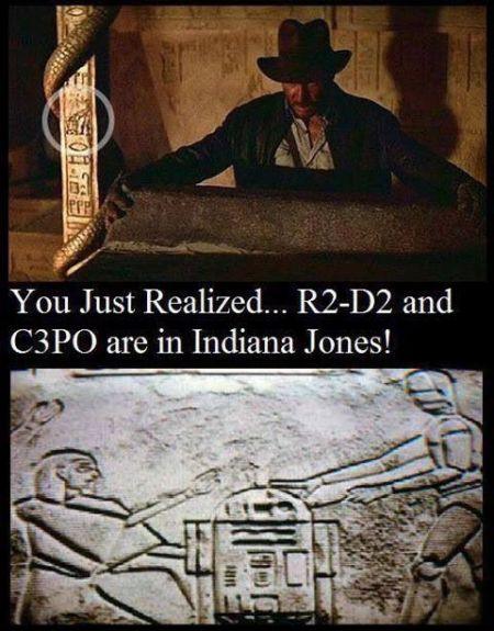 R2D2 and C3PO are in Indiana jones