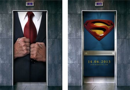 superman elevator advertising