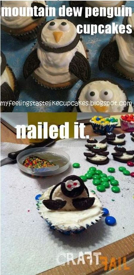 Nailed it – penguin cupcakes
