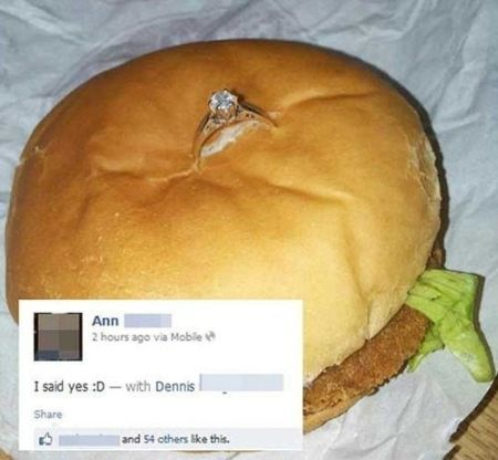 chicken burger marriage proposal