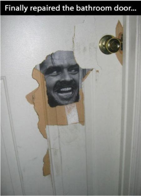 finally repaired the bathroom door funny
