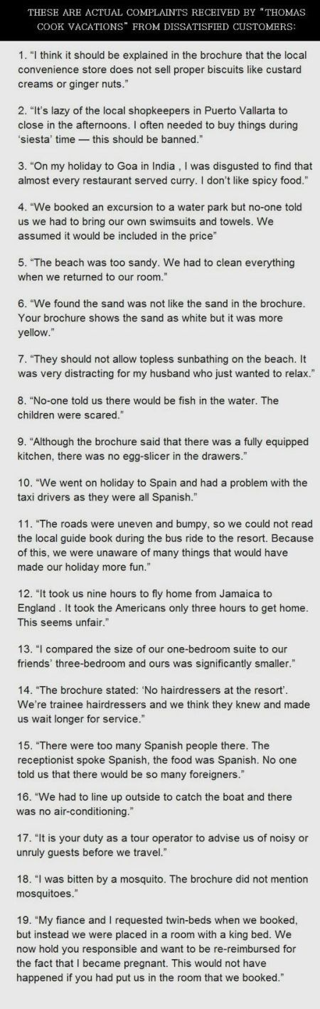 Thomas cook vacations complaints funny