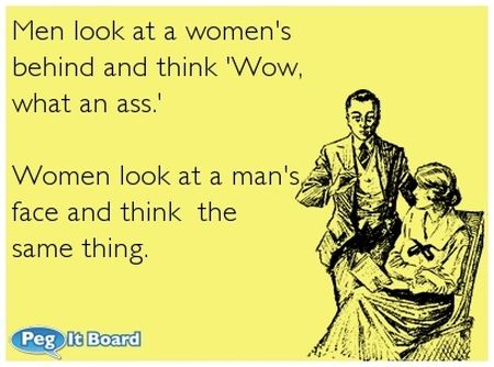 men look at women behind ecard