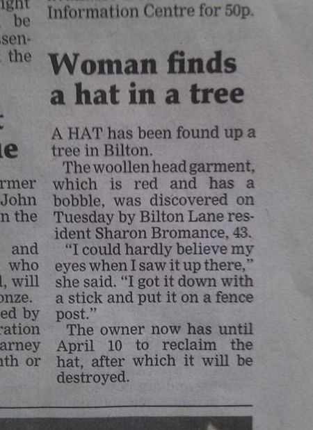 woman finds hat in a tree