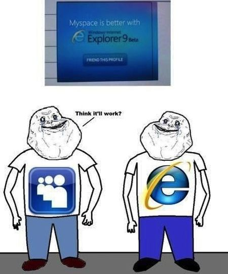 my space and internet explorer forever alone funny