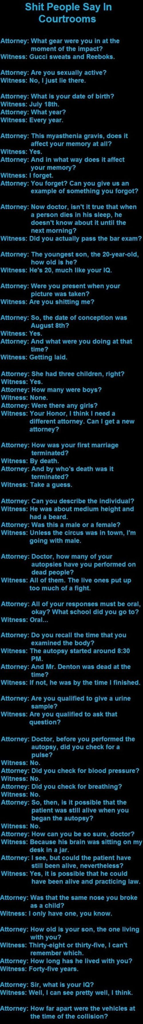 sh*t people say in courtrooms