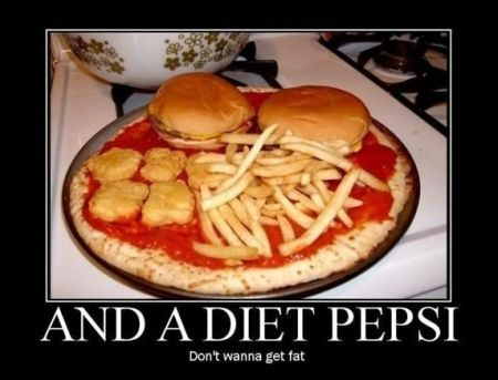 and a diet pepsi  demotivational