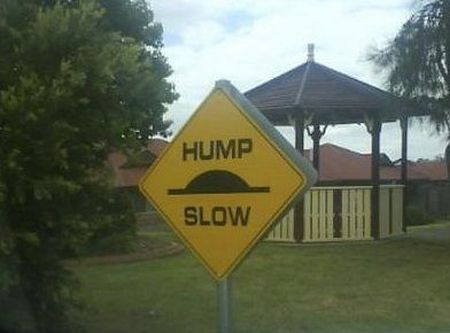 Hump slow sign