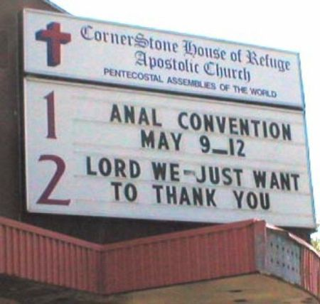 church anal convention sign